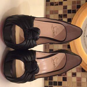 Christian Louboutin black leather knot heels